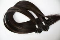 "Indian Hair Dark Brown Under $50 Wholesale - 16""- 24"" Pre Keratin Flat-Tip Human Hair Extension #2 dark brown ,1g s 100g set"