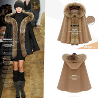 Coats Women Cotton 2014 Fashion Winter European and American women's cape coats fur colar cashmere woolen coat manteau woman J1176