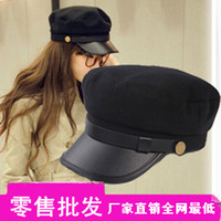 Wholesale Special Ribenyuandan buckle leather brim hat British style flat cap navy captain hat hat cap student_In Stock