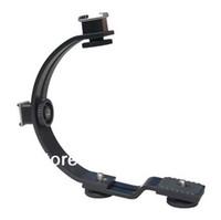 Yes Yes C-shaped new C-shaped 2 hot shoe dual metal flash bracket for camera flash speedlite LED free shipping