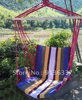 Cotten   Wholesale - In stock Deluxe Outdoor Colorful Canvas Hanging Hammock Sky Swing Chair For Single