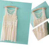 Street Style Chiffon WF-4003 WOMEN TWO SETS VEST GAUZE DRESS + SLING DRESS KK-4003890Freeshipping