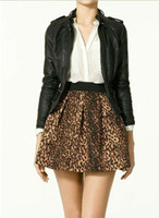 Cotton Mini  HOT! 2014 New Free Shipping Elastic Waist Leopard Printed Pleated Skirts With Pockets & Zipper Size S M L MMJ276