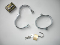 Wrist & Ankle Cuffs Male Stainless steel Stainless steel Bondage Handcuff Fetish Gear Sexy Toy for adults Free shipping CDR14002