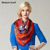 Scarves Yes Print 100 Silk Crepe Satin Plain Large Square Scarves 12mm 90 x 90cm fashion scarf
