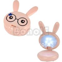Shadeless Modern Wall Mouted New Lovely Pink Mini Rabbit Shape Folding Up LED Desk Lamp Table Lamp Light 4734