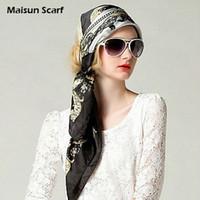 Wholesale 85 x cm mm crepe satin plain designer scarf square big silk