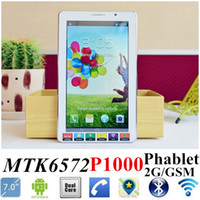 Wholesale Free DHL P1000 quot GSM Phablet inch Multi touch MTK6572 Dual Core Android Dual SIM G Bluetooth Dual Camera GPS Tablet pc Phone cell