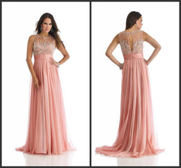 2014 A-line floor length spring new design collection pink chiffon ruffle beads crystal crew backless beading custom made high quality cheap
