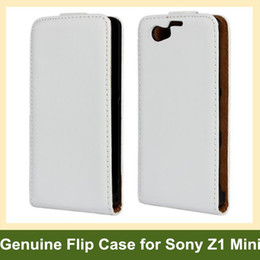 Wholesale Cool Genuine Leather Flip Cover Case for Sony Xperia Z1 Mini M51w Z1 Compact with Magnetic Snap Free Shipping