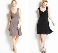 Wholesale Alluring Elegant Ann Spaghetti Short Bridesmaid Dresses Sheath Chiffon Ruffles Backless Party Dress Bridal Gown