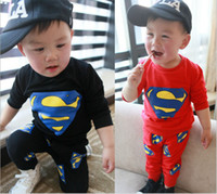 Wholesale Baby Spring Clothing Set Cotton Good Quality Cartoon Superman Sweatshirt Pants Casual Baby s Suit Boy Girl Tracksuit Homewear GX24