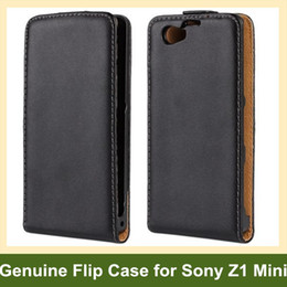 Wholesale Elegant Genuine Leather Flip Cover Case for Sony Xperia Z1 Mini M51w Z1 Compact with Magnetic Snap 10pcs lot Free Shipping