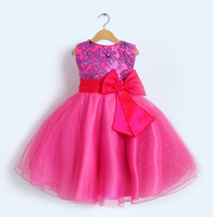 Girl bd - 5pcs Embroidery Girl Party Dress Girls Puffy Dresses Purple Maroon Champagn Hot Pink BD Ball Gown Flower Girl Dress