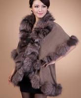 Ponchos knitting fur scarf - 2014 Hot Sale Shawl Gey Extravagant Wool Knitted Large Shawl Silver Fox Fur Poncho Sweater Wrap Fox fur cape fox fur scarf neck warmer