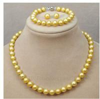 Wholesale AAA mm tahitan pearl necklace18 quot bracelets quot earring14k