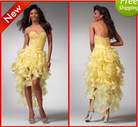 Reference Images Sweetheart Organza WoW!!!Hot Sexy Yellow Contoured Evening Dresses A-line Sweetheart Hi-Lo Beaded Fomal Prom dresses
