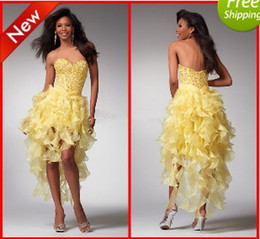 Wholesale WoW Hot Sexy Yellow Contoured Evening Dresses A line Sweetheart Hi Lo Beaded Fomal Prom dresses