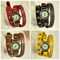 Wholesale New dress watches with Rivet for men women vintage real cow leather watch with long band fashion men s brand quartz wristwatch W1580