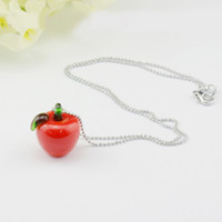 Bohemian aroma apple - HOT Sale Color Apple Essential Oil Pendant with Silver Chain MINI Aroma Necklace Jewelry DC282