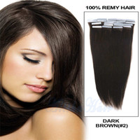 Wholesale 10 M Tape Skin cm Width g Dark Brown Color Straight Brazilian Hair clear band inch tape hair extensions