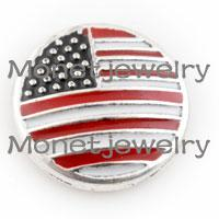 Wholesale w03916 newest DIY USA flag noosa fashion jewelry popular women bracelet