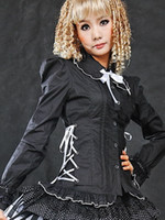 Wholesale Black Side Bandage Cotton Blend Sexy Lolita Blouses Cosplay Costume latex clothing r61 u6 NdM
