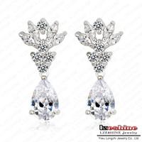 Wholesale Burning Love Earrings Fairy Flower Shape Swiss Cubic Zirconia Diamond Drop Earrings With Carat CZ Stone JS ER0025