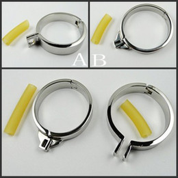 Wholesale Single Stainless Steel Cock Rings Size Choose Can Fit For Men Chastity Device Chastity Belt Adult Sex BDSM Toy Metal Fetish Cock Ring
