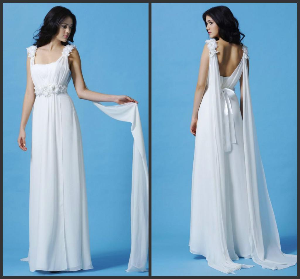 2014 chiffon beach wedding dresses flowing ribbon straps for Flowing beach wedding dresses