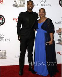 Wholesale The Oscar Michael B Jordan Plus Size Celebrity Dresses Sash Shoulder Blue and Black Red Carpet Dresses Floor Length Dress dhyz