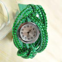 Wholesale 2014 luxury braid dress watches for women leather band diamond quartz wristwatches ladies luxury brand rhinestone watche W1581