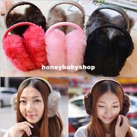 Wholesale Korean plush folding earmuffs warm winter cute couple fake fur earmuffs earmuffs ear package