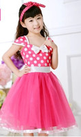 Wholesale Free ship children s girls pink minnie mouse dress flower girl fairy dress for party festival halloween costume wedding