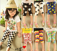 Cheap 2014 Summer New Arrival Children 7 Points Leggings %100 Good Quality Meryl Cotton Comfort Girl Short Leggings Kids Tights Pants GX31