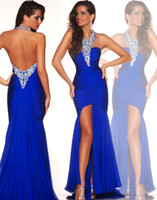 Reference Images Halter Chiffon Hot Fashion Designer Halter Mermaid Side Split Beaded Modern Evening Dresses Royal Blue Backless Teen Pageant Dresses 2014