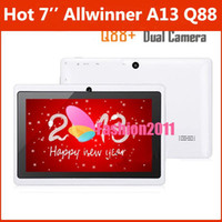 Wholesale 7inch Allwinner A13 Q88 Android Tablet PC Leather case Dual Camera Capacitive Touch Screen GHz MB GB WIFI Free DHL