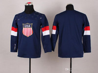 Ice Hockey Boys Full Cheap! Youth 2014 Sochi Olympic USA National Team Blue Blank Premier Hockey Jersey Man Ice Hockey Jersey Stitched Authentic High Quality NWT