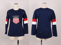 authentic olympic hockey jerseys - Ladys Blue Blank Sochi Olympic USA National Team Premier Hockey Jersey Man Ice Hockey Jersey Stitched Authentic High Quality NWT HOT