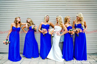 Wholesale Popular Western Cheap Strapless A line Floor length Ruffle Royal Blue Chiffon Long Bridesmaid Dresses