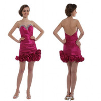 Wholesale 2014 Best Selling Sexy Red Wine Backless Sweetheart Mini Rhinestone Flowers Taffeta Standard code Coctail Dresses EM00370