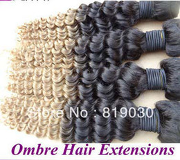27 bouclés ombre à vendre-Oxette deux tons # 1b / 27 bouclés blonde ombre tissage vague profonde ombre vierge non traitée Cheveux indiens 3 paquets par lot