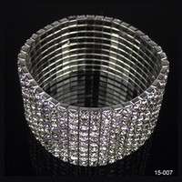 Wholesale Cheap Rows Clear Sparkle Rhinestone Elastic Bracelet Cuff for wedding Bridal Accessories Jewelry Best Selling