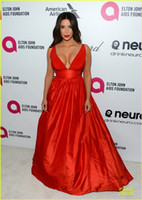 Reference Images V-Neck Taffeta Cheap Kim Kardashian 2014 86th Academy Awards Empire Plunging V-Neck Long Red Carpet Dresses Celebrity Dresses Ruched Evening Gowns