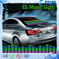Cheap 90 x 25cm Sound Music Activated EL Sheet Car Sticker Equalizer Glow Flash Panel LED Multi Color Decorative Light Car Accessories,wu