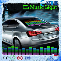 Wholesale Led Sheet Car - 90 x 25cm Sound Music Activated EL Sheet Car Sticker Equalizer Glow Flash Panel LED Multi Color Decorative Light Car Accessories,wu