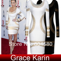 Casual Dresses Round Knee Length Free Shipping Grace Karin Occident Ladies Celebrity Kim Kardashian Foil Print Long Sleeve Bodycon Dress 4 Size XS~L CL5285