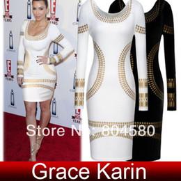 Wholesale Grace Karin Occident Ladies Celebrity Kim Kardashian Foil Print Long Sleeve Bodycon Dress Size XS L CL5285