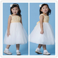 Wholesale 2014 Lovely Straps Tulle Ball Tea Length Bow Flower Girl Dresses Sleeveless Zipper Handmade Girls Party Kids Clothing Birthday Gowns EF05