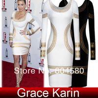 Casual Dresses Round Knee Length Free Shipping Grace Karin Occident Ladies Celebrity Kim Kardashian Foil Print Long Sleeve Bodycon Dress 4 Size XS~L CL5285